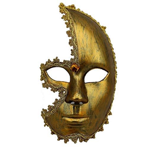Uus Maschera per Uomini e Donne di Halloween Mezza Faccia, Maschera di Divertimento per Adulti Maschera per Divertimento per Adulti in Oro (Formato Libero) (Colore : Oro)