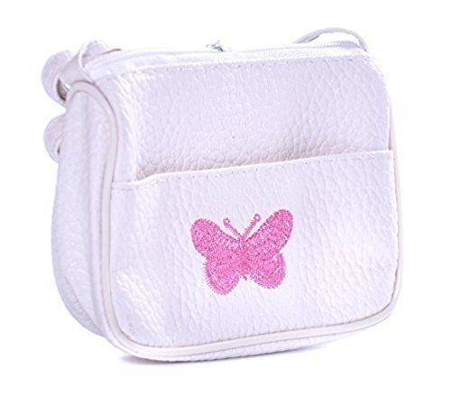 Kinder Handtasche mit eingestickten Butterfly - Weiß (Weiße Mädchen Handtasche)