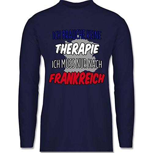 Länder - Ich brauche keine Therapie ich muss nur nach Frankreich - Longsleeve / langärmeliges T-Shirt für Herren Navy Blau