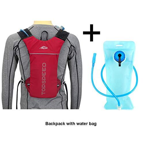 HENDTOR 5L Laufen Trinkrucksack Frauen Männer Joggen Sport Rucksack, Trail Running Marathon Tasche, Keine Wasser Tasche Red and Water Bag -