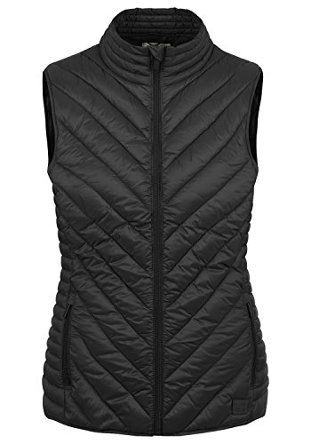 BlendShe Sadie Damen Weste Steppweste Outdoor Weste Mit Stehkragen, Größe:XL, Farbe:Black (20100)
