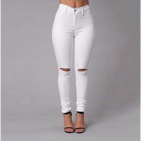 FF&CAI Womens strappato fori Distressed Jeans Skinny matita pantaloni , black , l