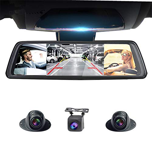 """ZMM Dual Dash CAM 10"""" Touch Android Autokamera mit GPS Rückspiegel DVR Scheibenrecorder ADAS WiFi"""