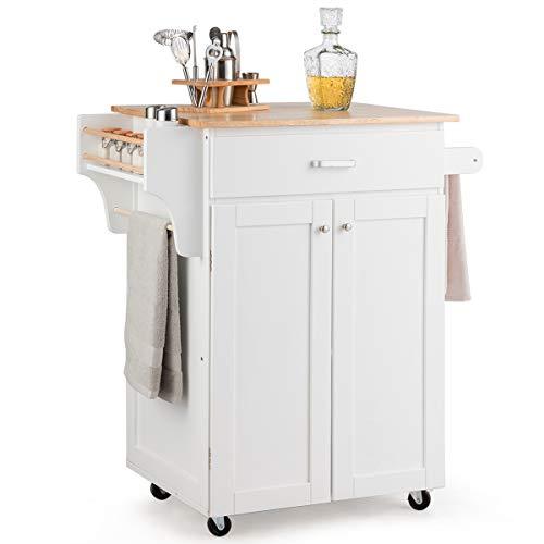 COSTWAY Küchenwagen rollbar, Kücheninsel mit Handtuchhalter, Küchenschrank aus Holz, Servierwagen weiß, Kücheninselwagen, Mikrowellenwagen, Sideboard 83 x 48 x 91 cm