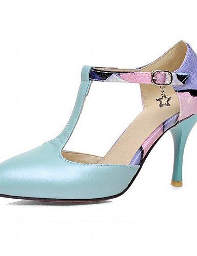 WSS 2016 Chaussures Femme-Bureau & Travail / Habillé / Décontracté-Bleu / Rose / Blanc / Beige-Talon Aiguille-Talons-Talons-Similicuir blue-us7.5 / eu38 / uk5.5 / cn38
