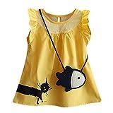 JUTOO 2 Satz Neugeborenen Kleinkind Kind Baby Mädchen ärmellose Cartoon Fisch Tasche + Katze lässig Prinzessin Kleid (Gelb,13)