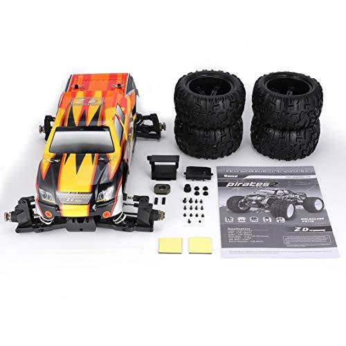 Vige ZD Racing 9116 1: 8-Skala 4WD Bigfoot RC Karosserie-Chassis-Rahmen Geländewagen-Fahrzeughülle für Radabdeckung DIY-Ersatzteile - Orange und Gelb