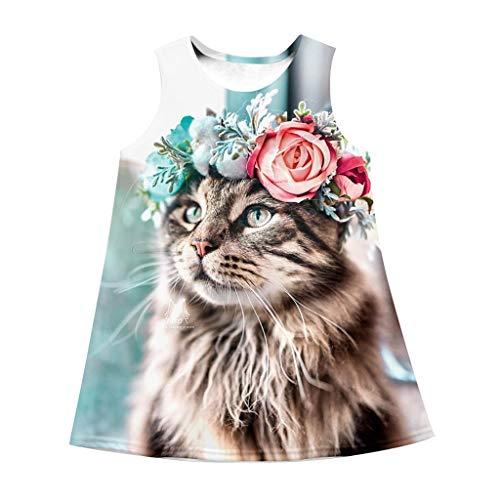 7-10 Jahre großes Kind Mädchen neues Kleid Sommer ärmellose Katze 3D Digital Print Cartoon Kleid Sonne Rock(Mehrfarbig, L)