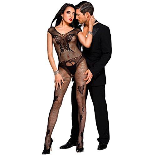 Nylon Kostüm Spandex - Sexy unterwäsche dessous damen erotik set Netz durchsichtiges Bodystocking bodysuit catsuit Nachtwäsche, S/M/L, Schwarz
