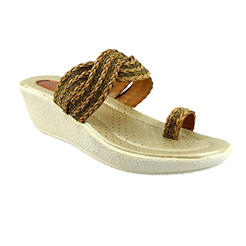 Miss Polo Cream wedge heel party wear slippers  available at amazon for Rs.399