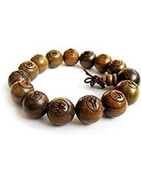 88a27aee2222 DMtse 15mm Large Beads Traditional Tibetan Buddhist Green Sandalwood Beads  Bracelet Prayer Mala Bracelet for Men