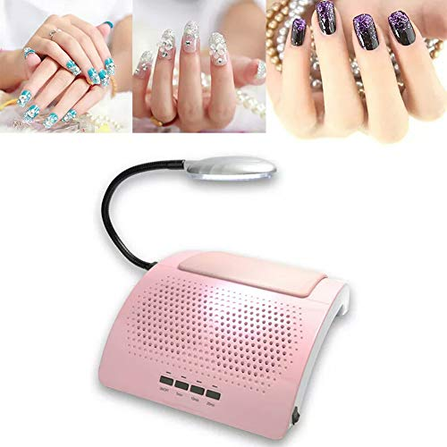 Nagel staubsauger Multifunktionale Nagelkunst Werkzeug Intelligent Nagellampe mit Timer Nagel Trockner Nagel Staubsauger Mit LED-Licht,Pink