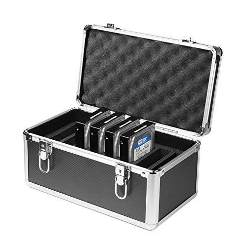 Salcar Disco Duro Caja Protectora de 10Unidades de Disco Duro (3,5Pulgadas) Caja de protección para maletín de Aluminio con Espuma de protección y Transporte