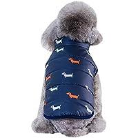 Ropa de algodón para Mascotas Ropa de Perro a Prueba de cálido Chaleco para Mascotas Chaqueta de Invierno Nylon Polar Polar Estampado Aire Libre para Perros pequeños Gusspower