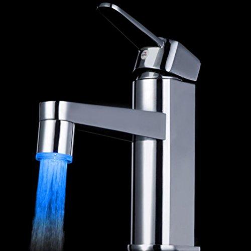 Hunpta Temperatur-Sensor 7 Farbe Küche Wasserhahn Wasserhahn Glow Dusche LED Licht (Silber A) -