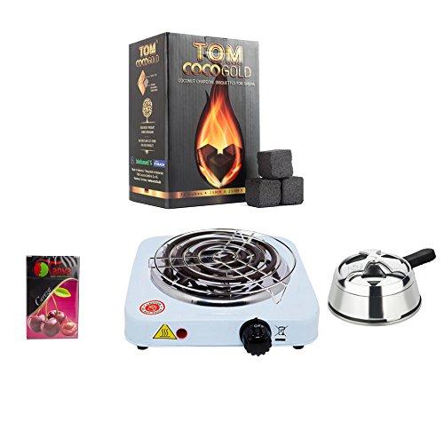 Pack Completo para Shisha, Hornillo 1000W con Rejilla, Regulador de Calor, 50gr...