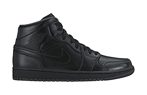 Nike AIR JORDAN 1 MID, Herren Sneakers, Schwarz (021 BLACK/BLACK-DARK GREY), 44.5 EU (Nike Jordan 1 Mid)