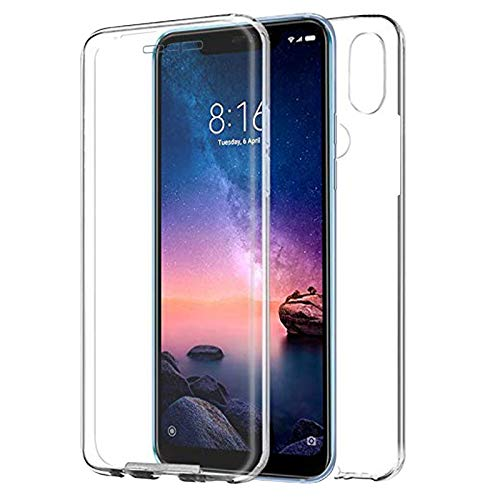 "TBOC Case for Xiaomi Redmi Note 6 Pro (6.26"") Cover [Transparent] Complete [Front: Silicone] [Back: Hard Plastic] Full Body [360 Degree] Protection Mobile Protective Bumper Shockproof Anti Scratch"