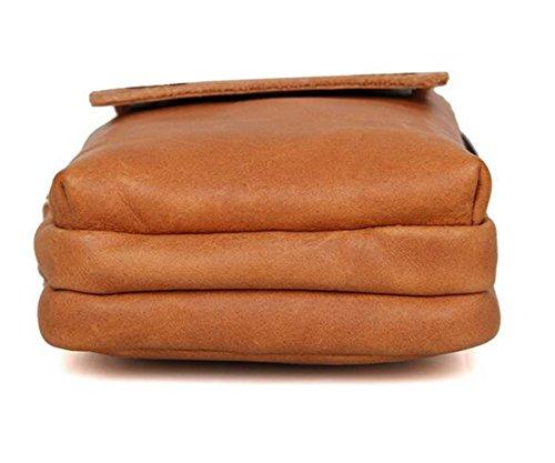MeiliYH Herren Leder Taschen Außenhandel Leder Retro Handytasche Braun