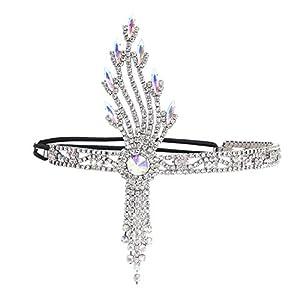 ArtiDeco 1920s Stirnband Damen Gatsby Kostüm Accessoires Blatt Medaillon Blinkende Haarband 20er Jahre Stil Charleston Flapper Haarband