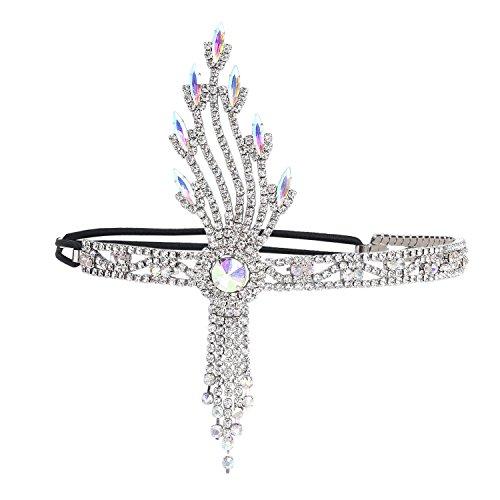 (ArtiDeco 1920s Stirnband Damen Gatsby Kostüm Accessoires Blatt Medaillon Blinkende Haarband 20er Jahre Stil Charleston Flapper Haarband (Silber))