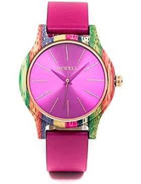Bewell Ladies Luxus Bunte Bambus Analog Quarz Armbanduhr mit Armband aus Leder Extrem und japanischen Akku Leichtgewicht...