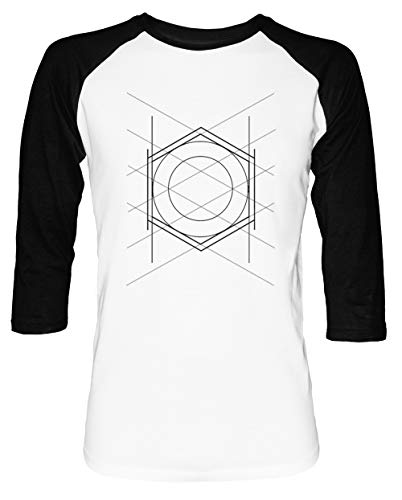 Geometrisch Muster Herren Damen Unisex Baseball T-Shirt Weiß Schwarz 2/3 Ärmel Women's Men's Unisex Größe M Men's White T-Shirt Medium Size M -