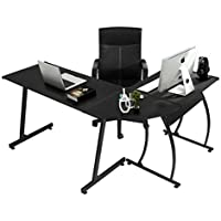 Coavas Computer Office Desk L-Shaped Wood Corner Desk Computer Workstation Large PC Gaming Desk Study Desk Computer Table Home Office 148x112x74 cm Black