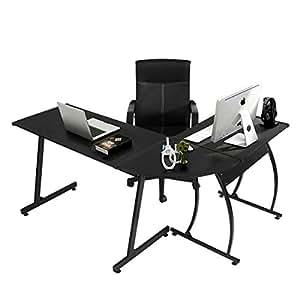 Coavas Computer Office Desk L-Shaped Wood Corner Desk Computer Workstation Large PC Gaming Desk Study Desk Computer Table Home Office 148x112x74 cm Black