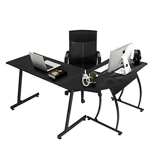 Coavas Computer Büro Schreibtisch L-förmige Holz Ecke Schreibtisch Computer Große Tisch Für Arbeit Computerspiel Lernen Schreibtisch Computer Tisch Home Büro 148x112x74 cm Schwarz