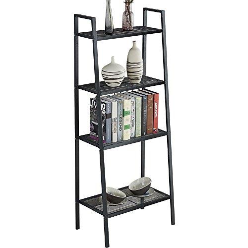 4 Etagen Leiter Regal Bücherregal Display Schiefen freistehend Stahl Rahmen Wand-Organizer Rack 35 * 35 * 148 cm Schwarz -