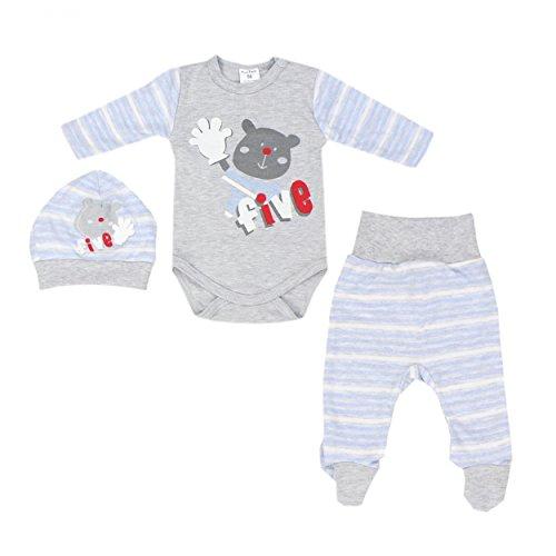 3er Set Baby Bekleidung Neugeborene Mädchen Jungen Langarm-Body mit Aufdruck Strampelhose mit Fuß Mütze, Farbe: Streifenmuster Blau, Größe: 68