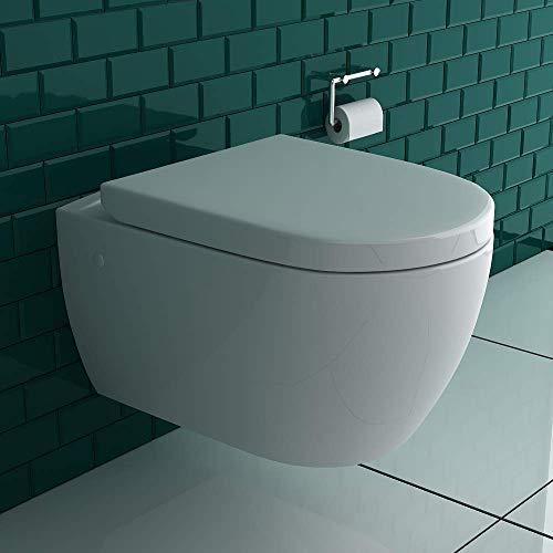 Alpenberger Wandhängendes WC mit Hygienedusche + Abnehmbarer WC-Sitz D-Form inkl. Absenkautomatik | 2 in 1 BIDET & WC | Taharet WC ästetische & platzsparende Ausführung | passend zu GEBERIT