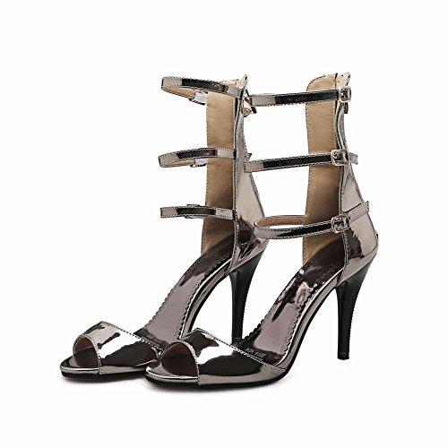 Mee Shoes Damen Reißverschluss open toe high-top Sandalen Taupe