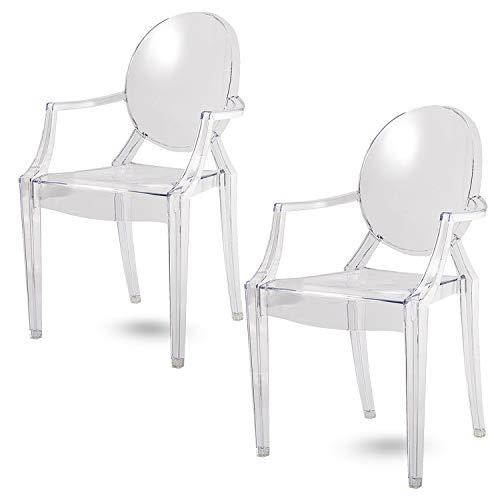 Damiware Lot de 2 Plexiglas Acrylique Ghost Chair Accoudoir Chaise Spirit Transparant. Illustration en Transparent (KRISTAL)