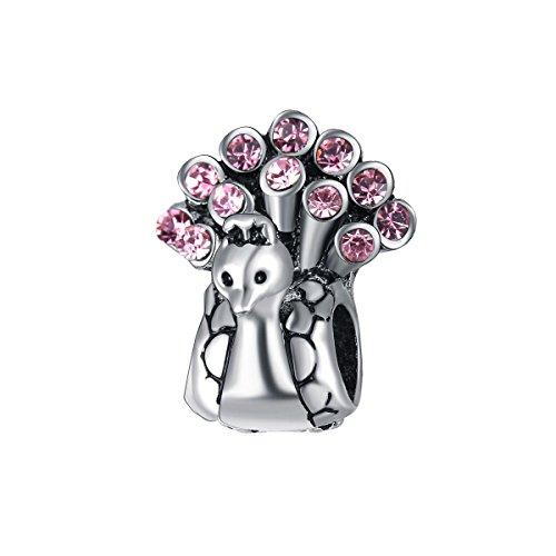 Bling Sterne Tier Charms Pfau Perle mit Swarovski Elements Kristall für Pandora Charms Armband rose
