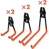 Outtybrave Schwerlastgarage Haken für Leitern Werkzeuge Wandhalter Haken, Metall, Orange, 6X Hooks+6 Set Screws
