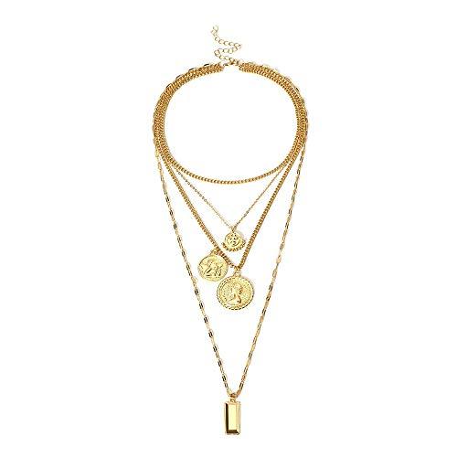 ZXC Vintage Halskette Münze Münze kreative Relief Multi-Layer Geometrie Projekt weibliche Mode Business Hochzeit Party Gelegenheit,Gold - Multi-relief