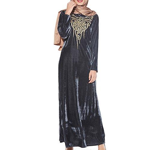 Deylaying Bescheiden Muslim Arabisch Samt Schmetterling Stickerei Langarm Abaya Türkei Maxi Kleid islamisch Damen Robe Kaftan Kirche Gebet Kleider (Maxi Kleider Bescheiden)