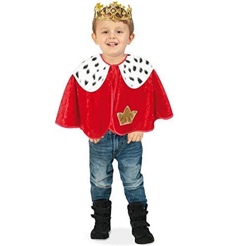 KarnevalsTeufel Kinderkostüm Cape König mit Hermelinfell-Optik Königsumhang Kleiner könig 1-TLG. Umhang rot in versch. Größen (92)
