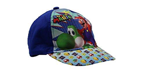 Unbekannt Sun City Kappen Für Kinder Junge und Mädchen 100% Baumwolle mit Klettverschluss verstellbar (48, Super Mario Blau)