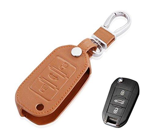 Happyit Cuero Llave Teledirigida del Coche Caso de la Cubierta para Peugeot 407 308 3008 508 207 208 307 408 301 Key 3 Button Protector (Marrón)