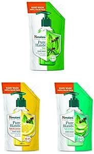 Himalaya Pure Hands   Deep Cleansing Tulsi and Lemon & Purifying Tulsi Hand Wash Refill & Moisturizing Tulsi and Aloe Hand Wash Refill - 750 ml
