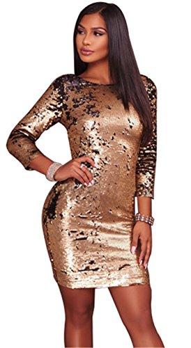 3/4-Arm 3/4-Ärmeln Glänzend Metallisch Sequin Gold Schwarz Reißverschluss Hinten Zurück Mini Minikleid Bodycon Etui Etuikleid Figurbetontes Kleid - Prom Lange Bling Kleider