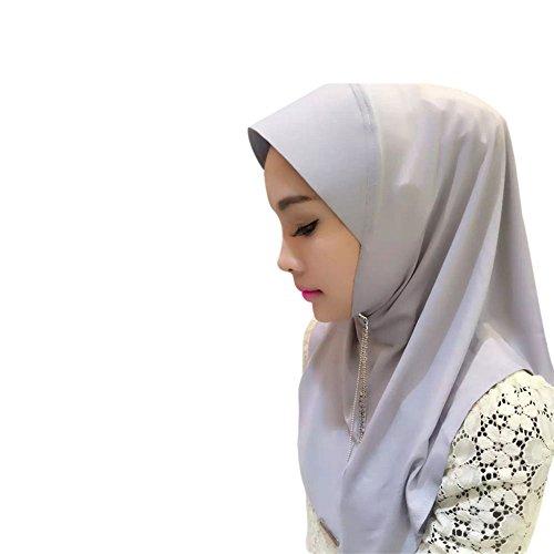 Meijunter Muslim Femmes Gland Cristal Épissure Chapeau Tête Écharpe Islamic Coton Châle Hijab gray