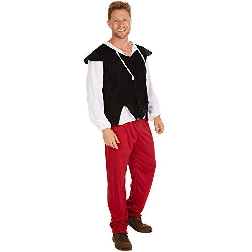 Herrenkostüm Tavernen Wirt | Bequemes Langarmshirt und Hose, inkl. Weste | farblich perfekt aufeinander abgestimmt | Ideal für Mottopartys oder Mittelalterfeste (XL) ()