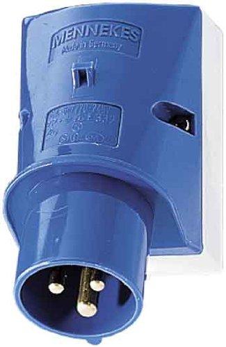 Mennekes (Unternehmen) 332Wand montiert Einlass, Schraubklemmen, IP 44Schutz, 6Stunden Earth Position, 3pol, 16A, 230V, blau