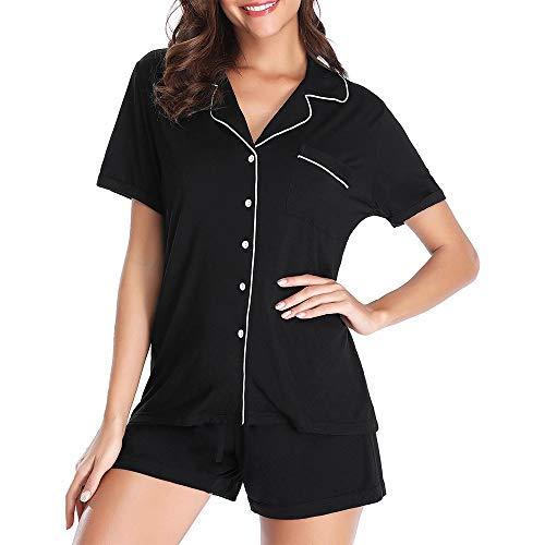 Klassische Kerbe-kragen (FerDIM Damen Schlafanzug-Set, kurzärmelig, klassisch, mit Tasche, Knopf-Up, Nachtwäsche, 2-teilig - Schwarz - Medium)