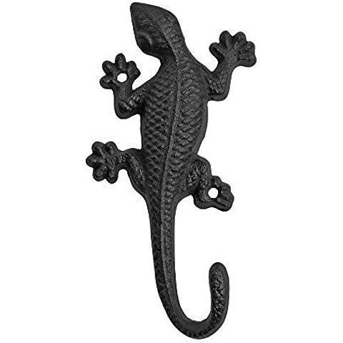 Juego de 3negro soporte de pared Hierro fundido lagarto adorno de jardín gancho para colgar abrigos