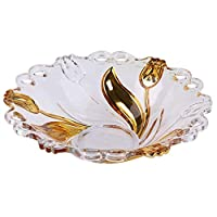 ZTMN Addin fruit plate, Tulip fruit bowl made of European glass crystal, Elegant and creative living room decoration (color: gold)